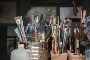 Bunch of art supply in studio