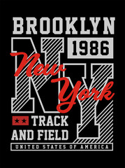 New York Brooklyn Typography T-Shirt graphic
