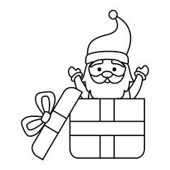 giftbox with cute santa claus character