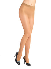 Shapely female legs dressed in tights body color