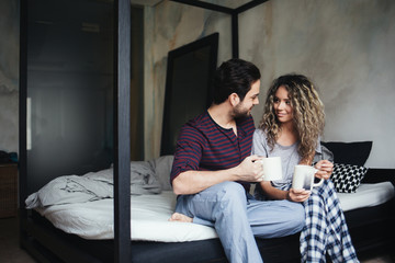 Couple Drinking Morning Coffee Together