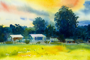 Abstract watercolor painting  of village view, rainy season