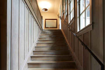 Wood staircase in luxury home