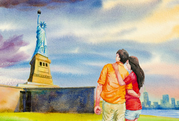 The statue of Liberty,  Watercolor painting