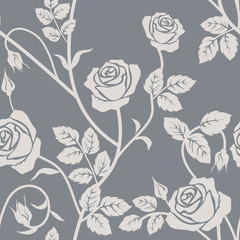 Rose seamless pattern. Gray and white seamless pattern with flowers roses and leaves. Floral seamless background.