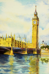 Watercolor painting Big Ben Clock Tower and thames river