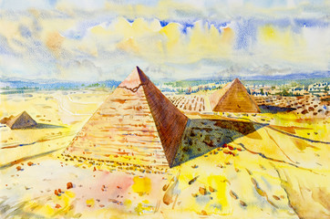 Foto auf Acrylglas Gelb The Great pyramid with desert in Giza, Egypt