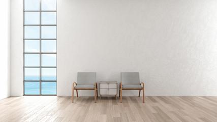 Modern interior living room wood floor. chair in living room sea view summer 3d rendering