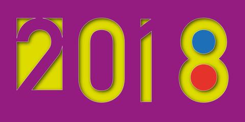 2018 - carte de vœux - année - présentation - vœux - colorée - invitation - graphique