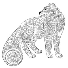 Arctic fox in the zentangle style.