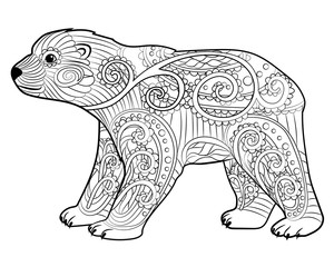 Baby bear in the zentangle style.