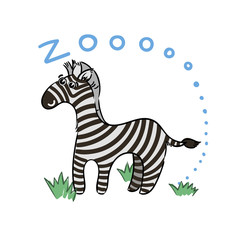 Illustration of doodle cute zebra, hand drawn graphic