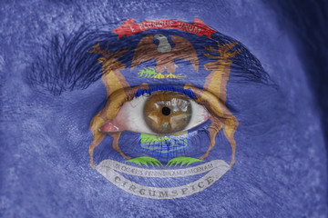 Human face and eye painted with US state flag of Michigan