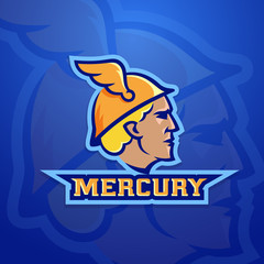 Mercury Abstract Vector Team Logo, Emblem or Sign. Ancient Roman Mythology Trade God. Sport Logotype Style Concept.