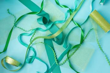 Shades of blue and green ribbons