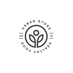 Healthy Food Store logo template. Urban Shop of Organic Food Vector symbol. Healthy lifestyle Vector Design element. Vegan cafe emblem.