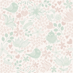 Romantic pattern with birds, hearts, flowers and bows. Seamless background.