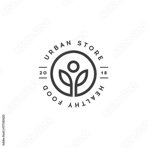 Healthy Food Store Logo Template Urban Shop Of Organic Food Vector