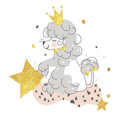Beautiful, smiling, cute dog poodle with golden crown, stars, gold glittering, dots. Hand drawn line art illustration, memphis style