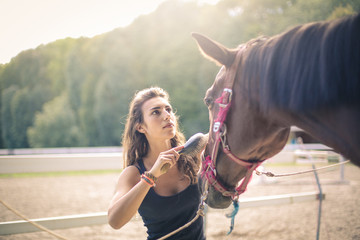 Girl taking care of her horse