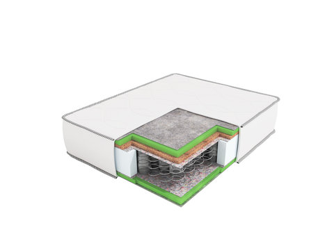 Modern orthopedic mattress white dismantled in a section with springs 3d rendering on a white background no shadow