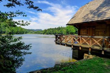 Cabin on Trakoscan Lake in northern Croatia