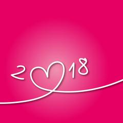 2018 - carte de vœux - cœur - amour - amoureux -année - rencontre - sexe - rose