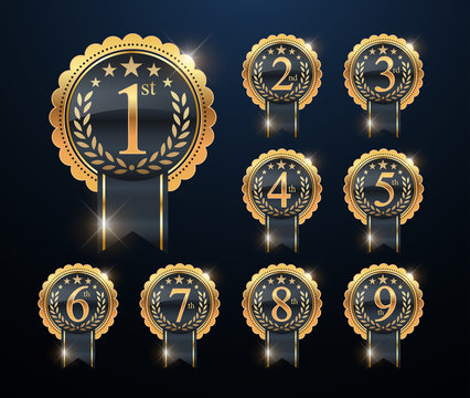 Award golden label of First, second and third winner. 1st, 2nd, 3rd, 4th, 5th, 6th, 7th, 8th and 9th Vector set. Set of gold numbers.Vector golden numbers