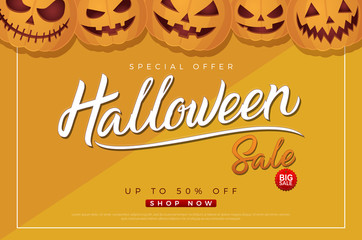 Halloween sale background with pumpkins template yellow background. 31 october autumn seasonal sale with Halloween lettering logo for poster, webs, card, label, banner. Vector illustration
