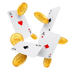 Falling aces and gold coins, vector, isolated on white