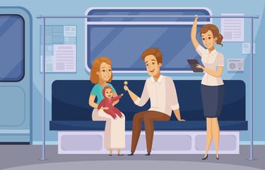 Subway Underground Metro Passengers Cartoon