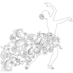 silhouette of a dancer with a pattern and flowers