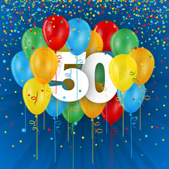HAPPY 50th BIRTHDAY / ANNIVERSARY card with bunch of multi-coloured balloons