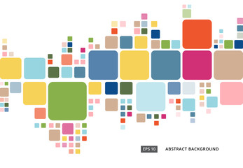Abstract colorful geometric square border pattern on white background Wall mural