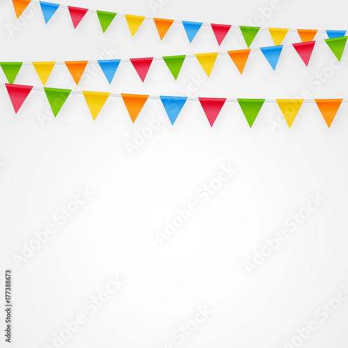 Minimalistic Festive Birthday Party Flags Bunting Decorations Vector Background Clean Colorful Template With Cute Banner For Greeting And