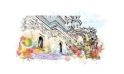 Watercolor sketch with splash of City Palace, Udaipur, India in vector illustration.