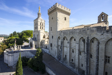 The Palais des Papes or Papal palace, one of the largest and most important medieval Gothic buildings in Europe. A World Heritage Site since 1995