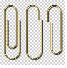 Metal gold paperclips isolated and attached to white paper isolated on transparent background