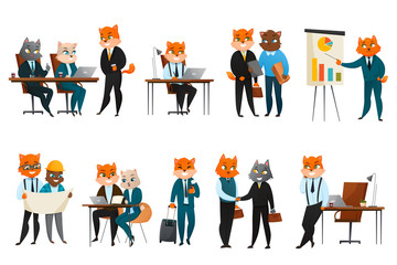 Business Cat Cartoon Icons Set