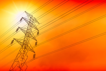 electricity power line silhouette with sunny sky background