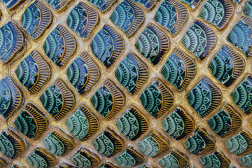 Thai style Fish Scale handcraft ceramic art temple decoration beautiful pattern