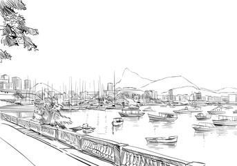 Rio de janeiro. Brazil. Hand drawn city sketch. Vector illustration.
