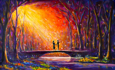 Lovers on bridge in woods at night. Romantic rays on lovers. Love. Romance. Secret love - colorful painting art.