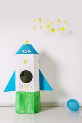 Diy rocket for child on white background.