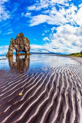 Rock Hvitsevkur on coast of Iceland