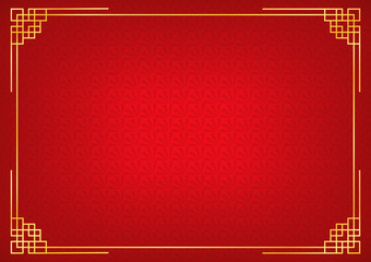 chinese new year background with golden border, abstract oriental wallpaper with decoration frame, red chinese overlap fan inspiration, vector illustration