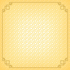 chinese new year background with gold border, abstract oriental wallpaper with decoration frame, yellow chinese overlap fan inspiration, vector illustration