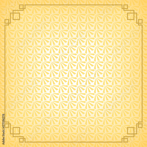 Chinese New Year Background With Gold Border Abstract Oriental Wallpaper Decoration Frame Yellow