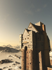 Medieval Tower House Castle in Snowy Mountains - fantasy illustration