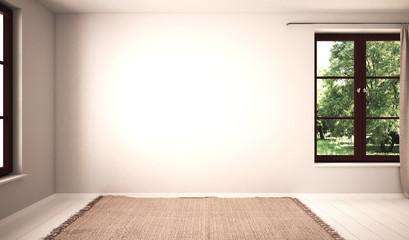 Leeres Zimmer mit 2 Fenstern und heller Wand